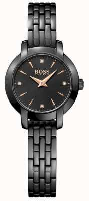 Boss 女装成功黑色镀金钢表链黑色表盘 1502387