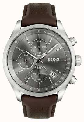 Hugo Boss 男士大奖赛棕色真皮表带灰色表盘 1513476