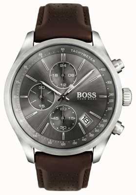 Boss 男士大奖赛棕色真皮表带灰色表盘 1513476