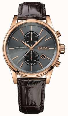 Boss 男士喷射棕色皮革表带灰色表盘 1513281