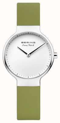 Bering 女士最大rené可互换绿色橡胶表带 15531-800