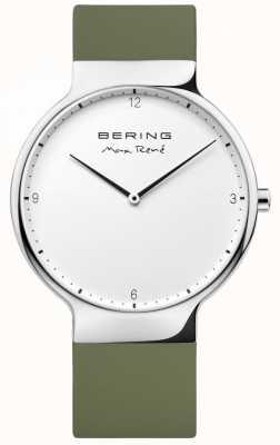 Bering 男士maxrené可互换绿色橡胶表带 15540-800