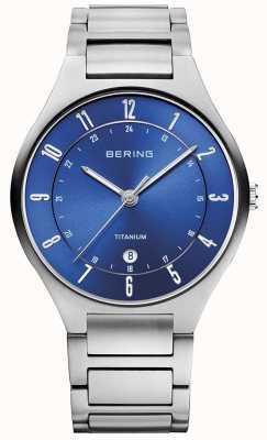 Bering 男士钛灰色表带蓝色表盘 11739-707