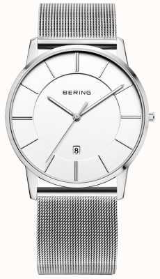 Bering 男士经典网带白色表盘手表 13139-000