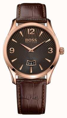 Hugo Boss 男装指挥官棕色皮革手表 1513426