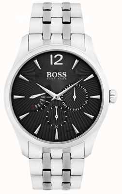 Hugo Boss 男士指挥官不锈钢黑色表盘 1513493