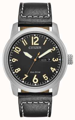 Citizen 男士生态驱动黑色皮革钱德尔 BM8471-01E