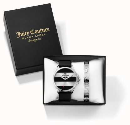 Juicy Couture 女子jetsetter黑银手镯和手表礼物套装 1950011