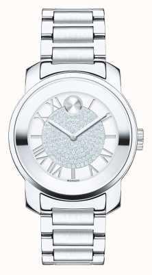Movado 大胆的中型奢华银色不锈钢k1水晶 3600254
