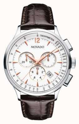 Movado 大约计时码表不锈钢表壳白色 0606576