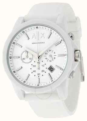 Armani Exchange 男士积极的白色计时硅胶 AX1325