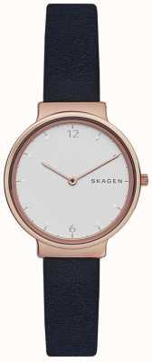 Skagen 女人肛门海军皮革表带白色表盘 SKW2608