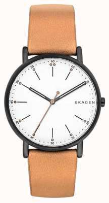Skagen 男士signatur浅棕色真皮表带白色表盘 SKW6352