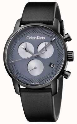 Calvin Klein 男士城市黑色皮革灰色计时码表 K2G177C3