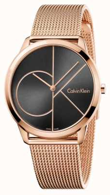Calvin Klein 男士最小玫瑰金网黑色表盘 K3M21621