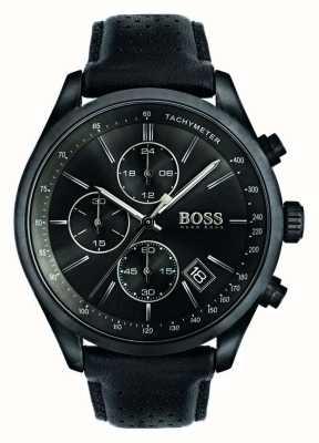 Hugo Boss 男士大奖赛计时码表黑色皮革表带黑色表盘 1513474