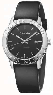 Calvin Klein 女人稳定黑色皮革黑色表盘 K7Q211C1