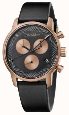 Calvin Klein 男士城市计时蓝色表盘黑色皮革 K2G17TC1