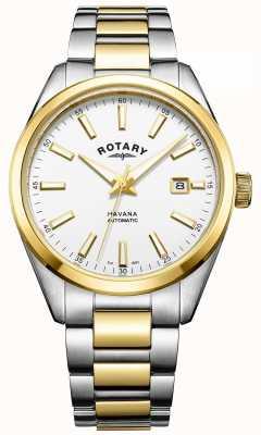 Rotary 男士哈瓦那自动|双色不锈钢表带| GB05078/02