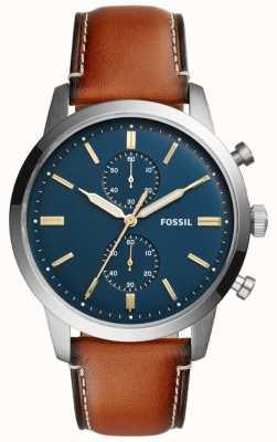 Fossil 男士镇民计时棕色皮革 FS5279