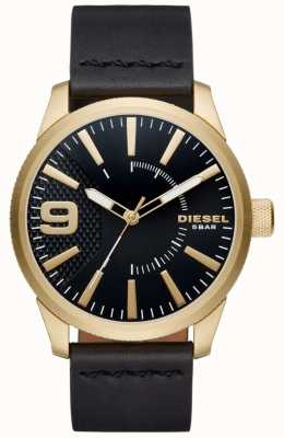Diesel 男士锉黑色和金色调皮革 DZ1801