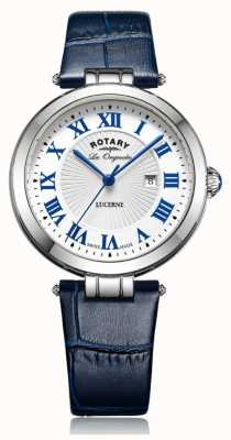 Rotary 女式琉璃蓝色真皮表带白色表盘 LS90197/01L