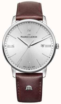 Maurice Lacroix 男士eliros棕色真皮表带银色表盘 EL1118-SS001-110-1