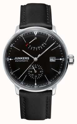 Junkers 男士bauhaus自动黑色真皮表带黑色表盘 6060-2
