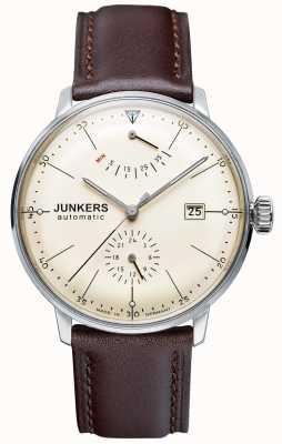 Junkers 男士bauhaus自动棕色真皮表带米色表盘 6060-5