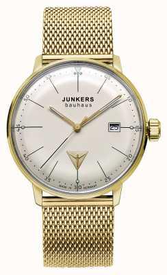 Junkers 男装bauhaus金色不锈钢网米色表盘 6072M-5