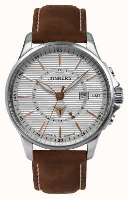 Junkers 男士棕褐色真皮棕色真皮表带银色表盘 6842-4