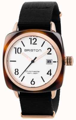 Briston 男士clubmaster经典黑色织物表带白色表盘 17240.PRA.T.2.NB