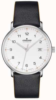Junghans 用数字形成小牛皮黑色表带 027/4731.00