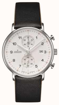 Junghans 形成c编号的chronoscope小牛皮黑色表带 041/4771.00