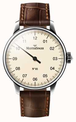 MeisterSinger 男士没有01机械棕色皮革表带奶油色表盘 AM3303