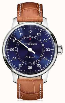 MeisterSinger 男士经典加上perigraph棕色真皮表带蓝色表盘 AM1008