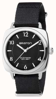 Briston 男女皆宜的clubmaster别致的黑钢与北约表带 17536.S.L.1.NB