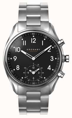 Kronaby 43毫米顶尖蓝牙不锈钢黑色表盘smartwatch A1000-1426