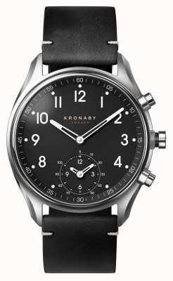 Kronaby 43mm顶尖蓝牙黑色皮表带smartwatch A1000-1399