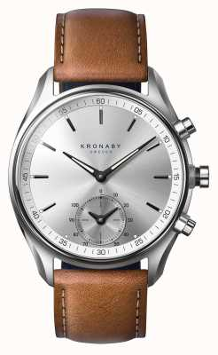 Kronaby 43毫米sekel蓝牙鞣棕色皮革smartwatch A1000-0713