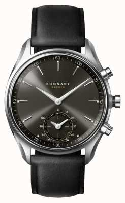 Kronaby 43毫米sekel蓝牙黑色表盘/皮革表带a1000-0718 S0718/1