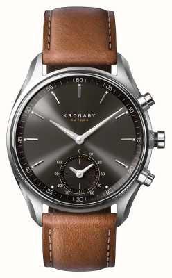 Kronaby 43毫米sekel蓝牙棕色皮革黑色表盘smartwatch A1000-0719