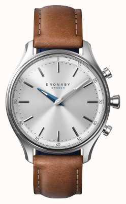 Kronaby 38毫米sekel不锈钢棕色皮革表带a1000-0658 S0658/1