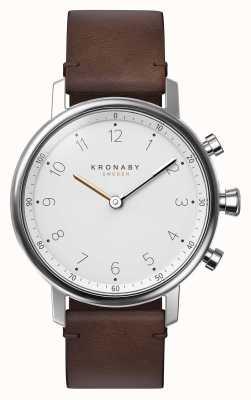 Kronaby 38毫米诺达蓝牙棕色皮表带smartwatch A1000-0711