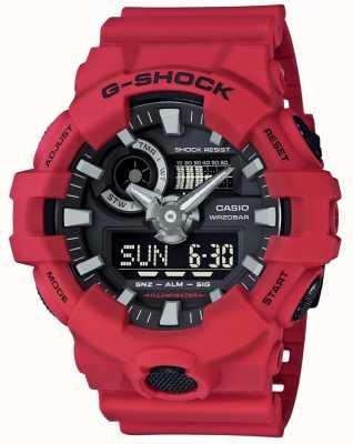 Casio 男士g-shock红色闹钟计时码表 GA-700-4AER