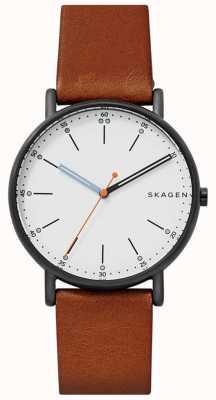 Skagen 男士signatur棕色皮革表带白色表盘 SKW6374
