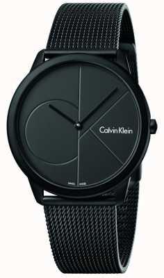 Calvin Klein 男士最小黑色不锈钢网眼手链 K3M514B1