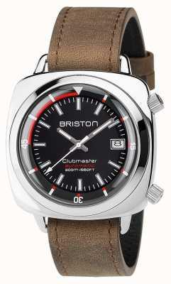 Briston 男女皆宜的clubmaster潜水员拉丝钢皮自动黑色 17642.PS.D.1.LVBR