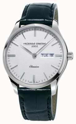Frederique Constant 男士经典石英黑色皮革表带白色表盘 FC-225ST5B6