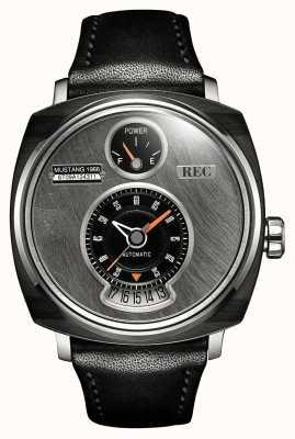 REC P51-01野马自动黑色皮革表带